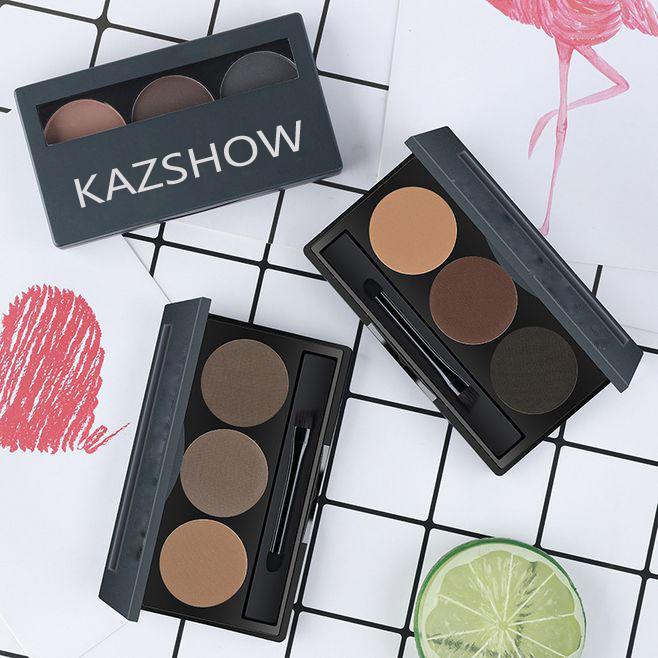 3 Color Waterproof Eyebrow Powder Set With Eyebrow Brush