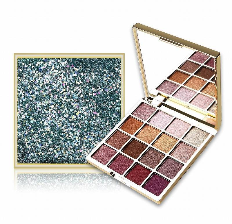 16 Color Glitter Eyeshadow Palette With Drift Sand Packge