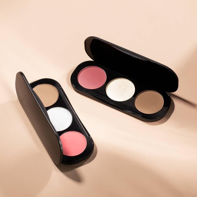 3 Colors Blush & Highlighter Palette