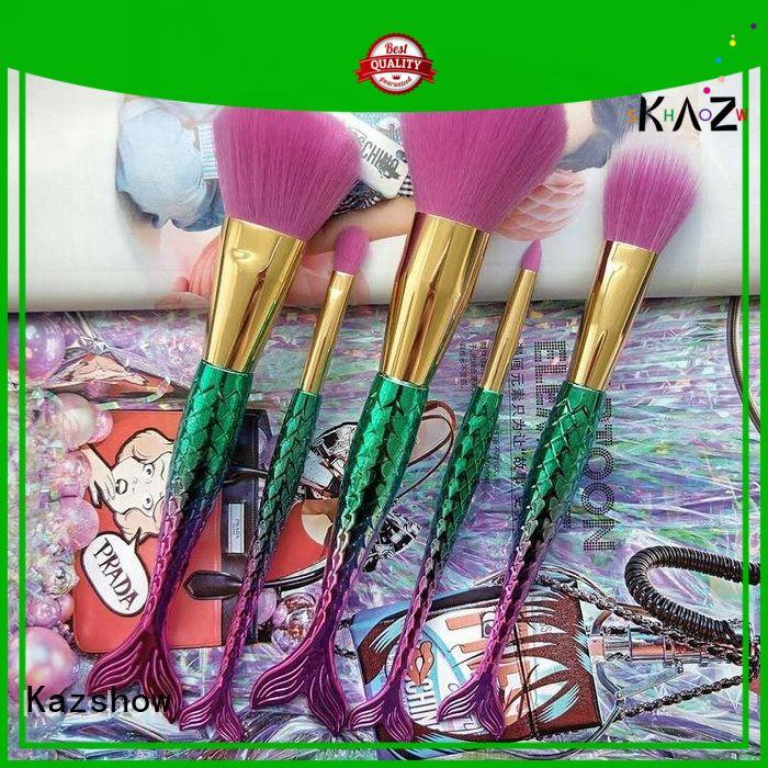 Kazshow beautiful design pink makeup brushes directly sale for face makeup